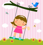 Cute girl and swing Royalty Free Stock Image