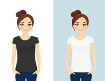 Cute girl in T-shirts Stock Photos