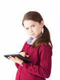 Cute Girl and tablet Stock Photos