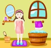 Cute girl taking a bath stock illustration