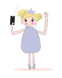 Cute girl taking self portrait with phone. Selfie vector Royalty Free Stock Photo