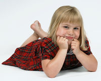 Cute girl in tartan dress Stock Photography