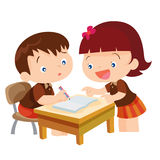 Cute girl teaching boy. Vector of Cute girl student teaching for friend in classroom illustration cartoon isolete Stock Photos