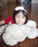 Cute girl with teddy bear Royalty Free Stock Photography