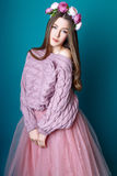 Cute girl teenage with long hair posing studio nature portrait. Stock Photo