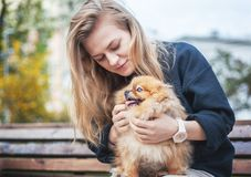 Cute girl teenager with blond hair playing with her puppy Pomeranian Spitz on her hands on a bench in the park royalty free stock photo