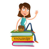Cute girl teenager sitting on a pile of books and waving. flat style vector illustration isolated on white background. Smart kid Stock Image
