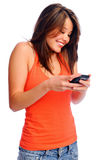 Cute girl texting Royalty Free Stock Photo