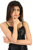 Cute girl in thinking pose Royalty Free Stock Image