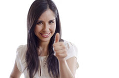 Cute girl with a thumb up Royalty Free Stock Images