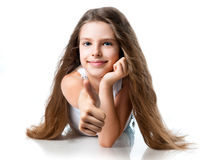 Cute girl with thumbs up Royalty Free Stock Images