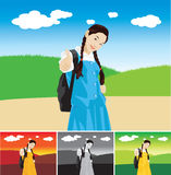 Cute Girl Thumbs Up. Cute asian Girl doing Thumbs Up stock illustration