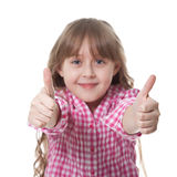 Cute smiling girl. Cute girl with thumbs up isolated over white Royalty Free Stock Photo