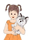 Cute girl and tiny puppy, kid, puppy animal , human, coloring book, children story book illustrasion, postcard stock image
