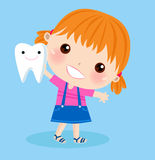 Cute girl and tooth Stock Image