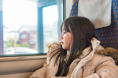 Cute girl on train Royalty Free Stock Images