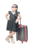 Cute girl traveler with suitcase isolated Royalty Free Stock Image