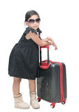 Cute girl traveler with suitcase isolated Stock Photos