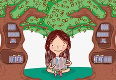 Cute girl with tree library. Cartoons vector illustration graphic design royalty free illustration