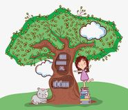 Cute girl with tree library. Cartoons vector illustration graphic design vector illustration