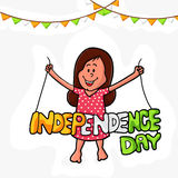 Cute girl with tricolor text for Indian Independence Day. Royalty Free Stock Photo