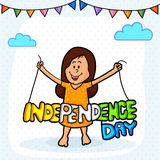 Cute girl with tricolor text for Indian Independence Day. Royalty Free Stock Image