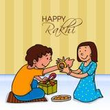 Cute girl tying Rakhi for Raksha Bandhan celebration. Illustration of a cute girl tying Rakhi on her brother's wrist for Happy Raksha Bandhan celebration Royalty Free Stock Photography