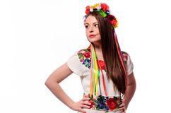 Happy cute girl in the Ukrainian national costume stock images