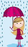 Cute girl with umbrella Stock Images