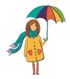 Cute  girl with umbrella Stock Photos