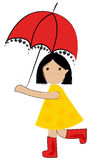 Cute girl under umbrella Stock Photos