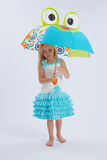 Cute girl under umbrella. Cute young barefoot girl under frog shaped umbrella; studio background Stock Image
