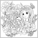 Cute girl and unicorn in roses garden. Outline drawing coloring. Page. Coloring book for adult. Stock vector.rr stock illustration
