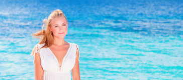 Cute girl on vacation royalty free stock photography