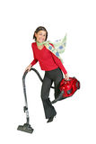 Cute girl vacuuming. On clear white background Stock Image
