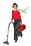 Cute girl vacuuming. On clear white background Stock Photography