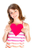 Cute girl with valentine heart Stock Photo
