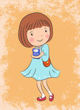 Cute girl vector illustration Royalty Free Stock Photo
