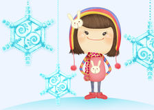 Cute girl Vicky. Cute cartoon illustrator girl, suitable for a variety of purposes design Stock Photos