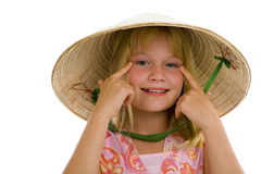 Cute girl with vietnam hat stock image