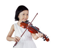 Cute girl with violin in the studio Royalty Free Stock Photography