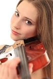 Cute girl with violin on a white Stock Image