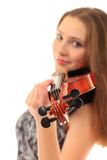 Cute girl with violin on a white Stock Photo