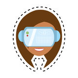 Cute girl virtual reality glasses technology new design cut line. Illustration eps Stock Photography