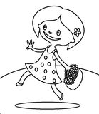Cute girl walking with bouquet of flowers coloring page Stock Image
