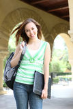 Cute Girl Walking on College Campus Stock Photography