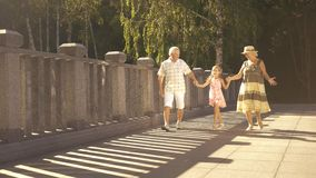 Cute girl walking with grandparents. stock video footage