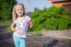 Cute girl walking outdoor, having fun and Royalty Free Stock Photo