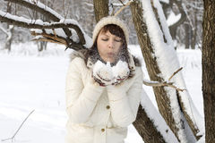 Cute girl walking in winter Royalty Free Stock Photo