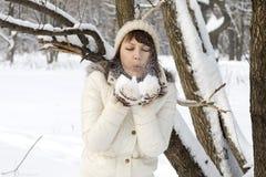 Cute girl walking in winter Royalty Free Stock Photo